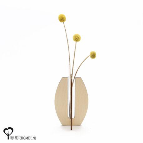 ovaal vaasje mini vaas cadeau kado kadootje reageerbuis reageerbuisje bloem bloemetje hout houten berken het noteboompje