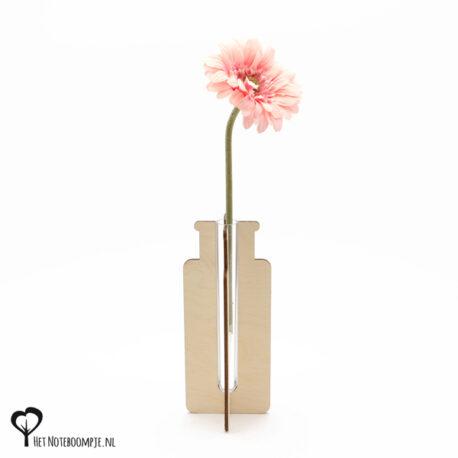 apothekersflesje vaasje mini vaas cadeau kado kadootje reageerbuis reageerbuisje bloem bloemetje hout houten berken het noteboompje